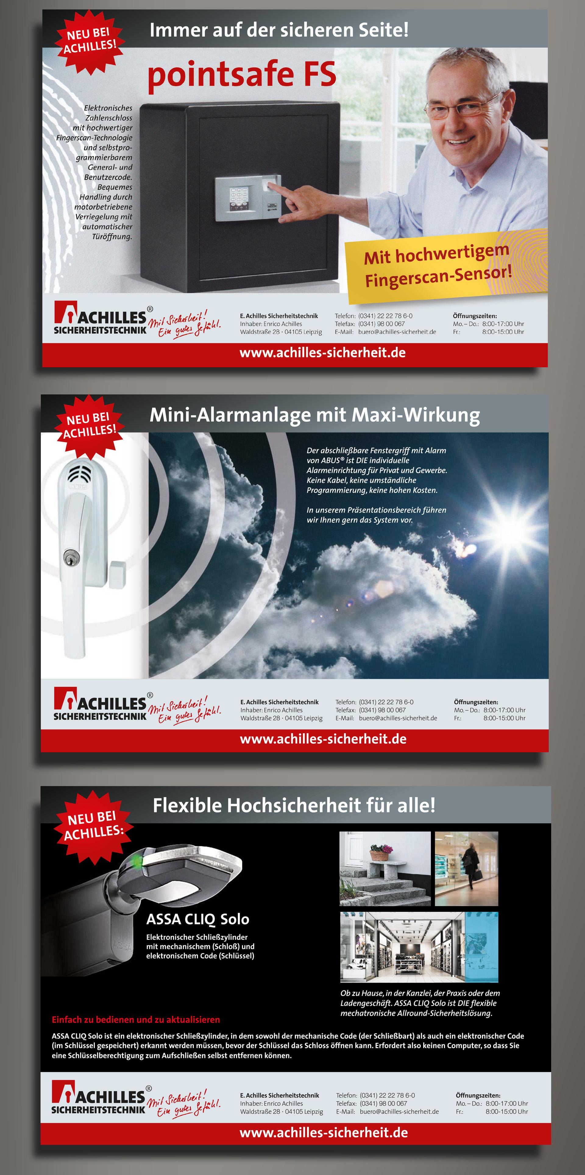 Anzeigenkampagne Achilles Sicherheitstechnik