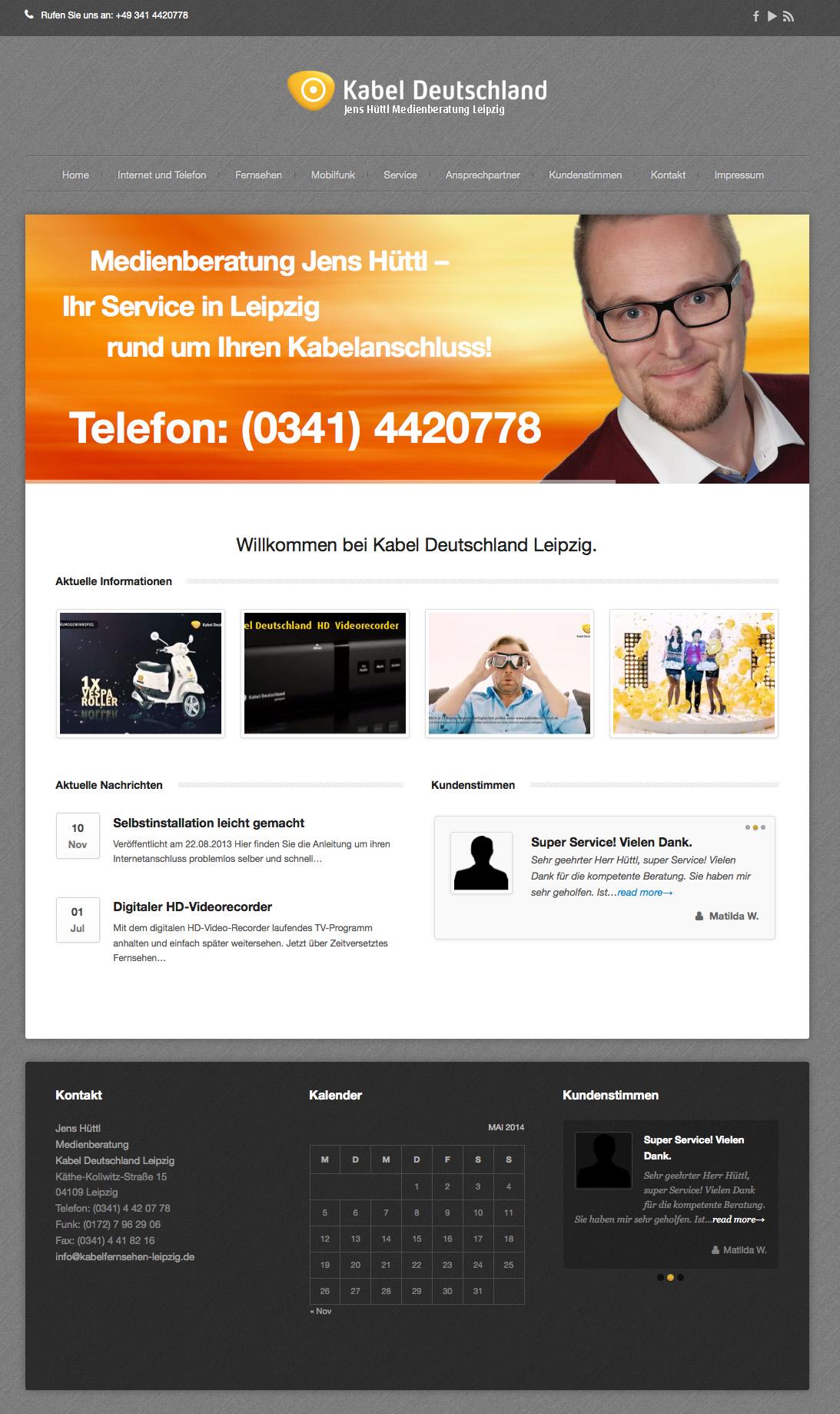 Internetauftritt Kabel Deutschland Leipzig Hüttl