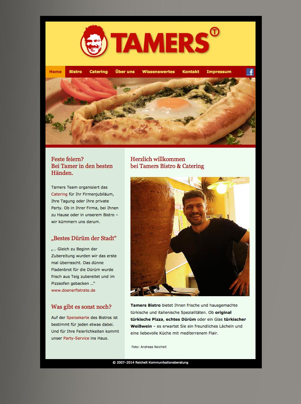 Internetauftritt Tamers Bistro & Catering