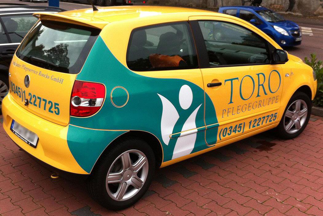 Fahrzeugbeschriftung TORO Pflegegruppe