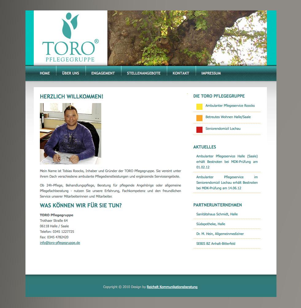 Internetauftritt TORO Pflegegruppe