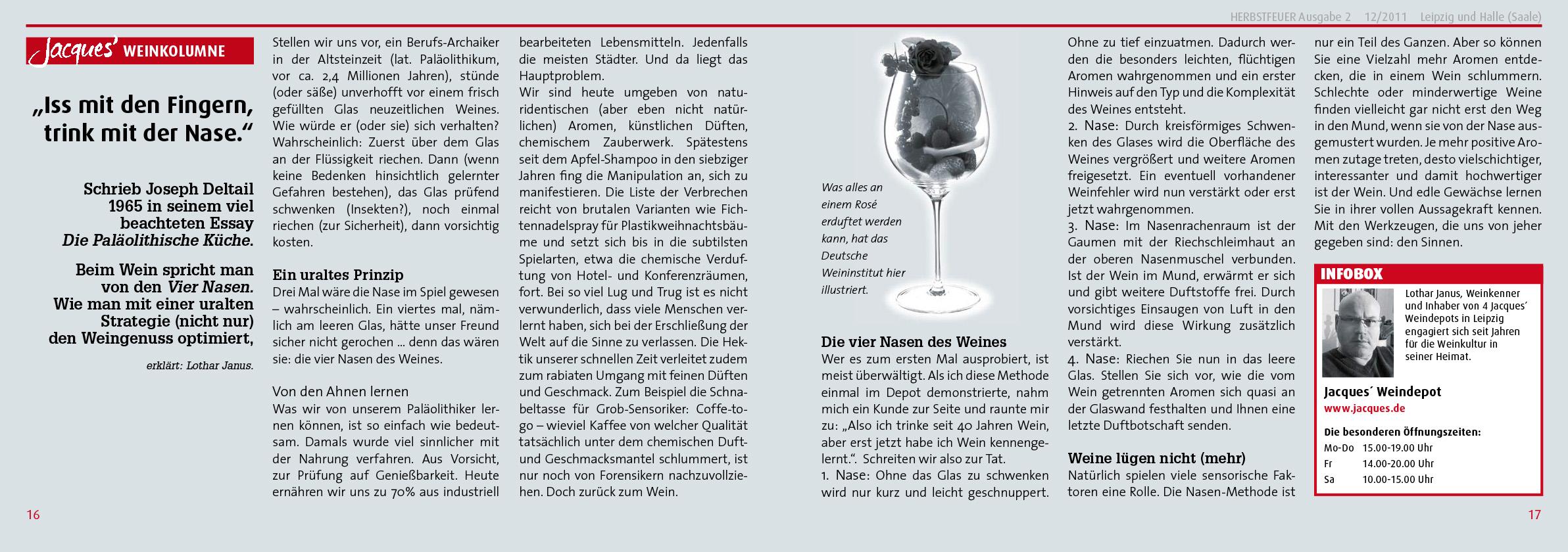 PR Kampagne für Jacques' Wein-Depot; HERBSTFEUER® Nr. 3, 2012