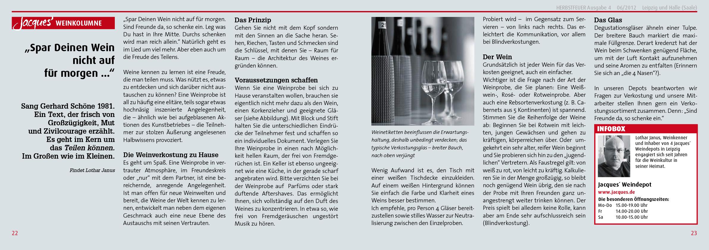 PR Kampagne für Jacques' Wein-Depot; HERBSTFEUER® Nr. 4, 2012