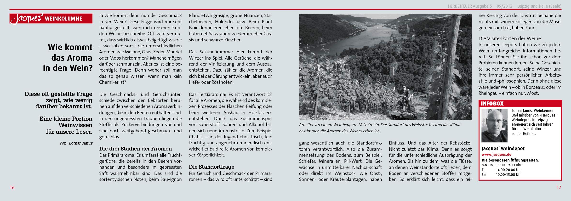 PR Kampagne für Jacques' Wein-Depot; HERBSTFEUER® Nr. 5, 2012