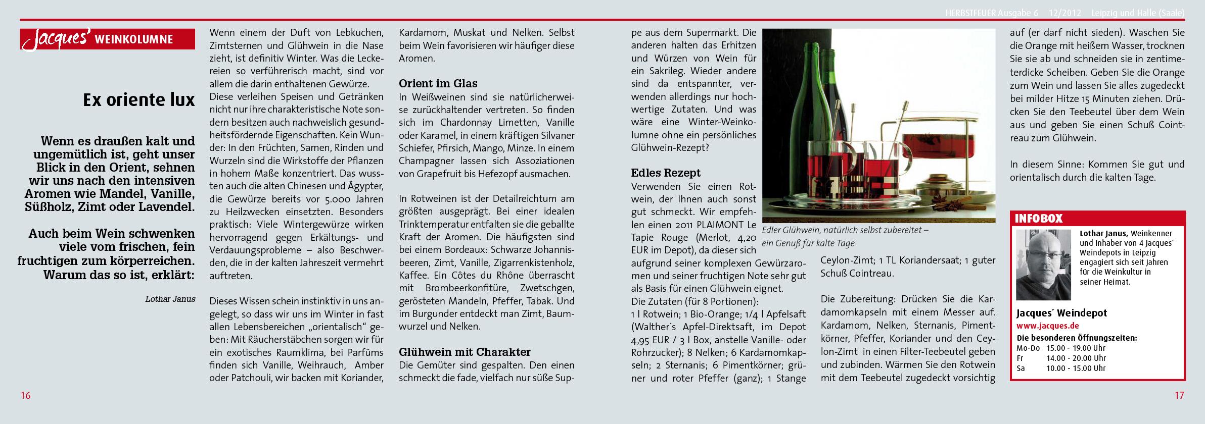 PR Kampagne für Kunde: Jacques' Wein-Depot; HERBSTFEUER® Nr. 6, 2013