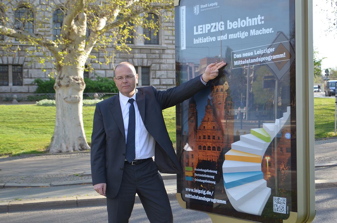 """Stadt Leipziig, Leipzigs Wirtschaftsbürgermeister Uwe Albrecht eröffnet die Imagekampagne """"Mittelstandsförderprogramm"""". Foto: Andreas Reichelt"""