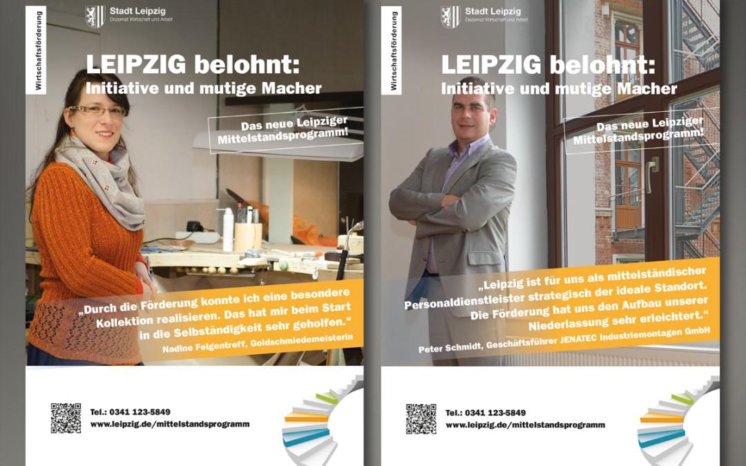 Unternehmerporträts: 2 neue Plakate werben für das Leipziger Mittelstandsprogramm